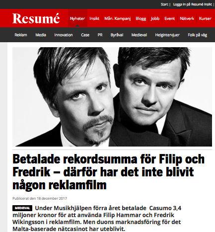 Filip och Fredriks reklam med Casumo